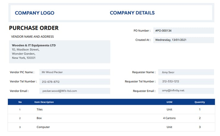 ADAM purchase order